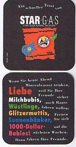 Bierdeckel-Untersetzer-STAR-G-A-S-Stars-gegen-Alkohol-schwarz-eckig-neuwertig