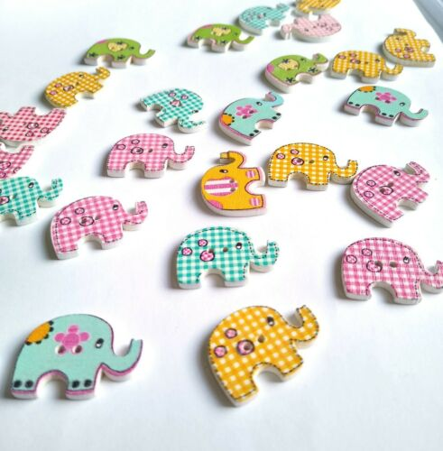 50 Colori Elefante Craft pulsanti Patchwork Scrapbook Abbellimento Estate 28mm