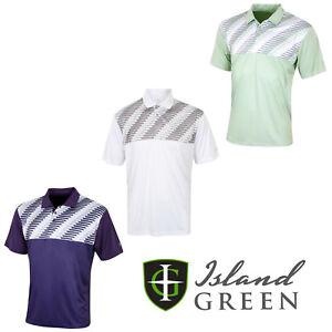 Verde-Isola-da-Uomo-Golf-Polo-Camicie-Stampato-Manica-Corta-Casual-IGTS1653