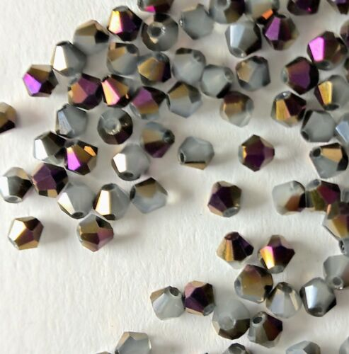100PCS 3mm Opaque Opal Grey Purple Bronze Bicone Crystal Glass Plated Beads