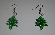Tree Art Glass Earrings Fish Hook Style New Pierced Christmas Green
