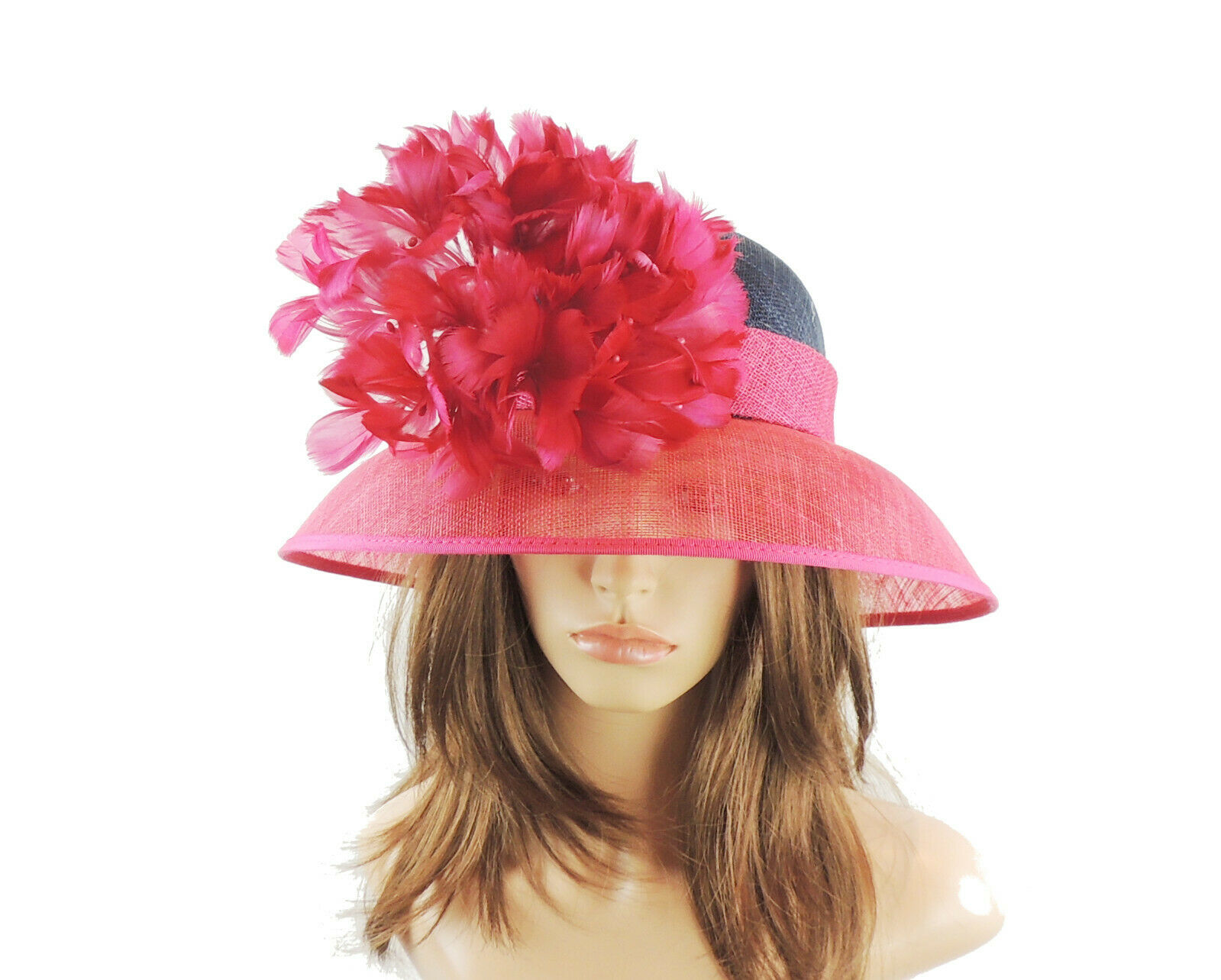 Fuchsia Navy Ascot Hat for Weddings, Ascot, Melbourne Cup HA