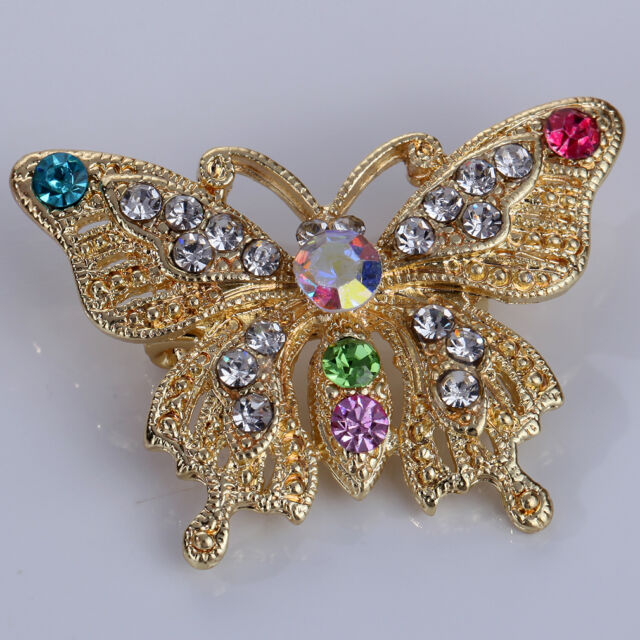 Gold Plated Crystal Rhinestone Butterfly Brooch Pin Party Wedding Women Jewelry