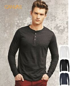 Canvas-3150-Long-Sleeve-Jersey-Henley-Shirt-S-2XL-Tee-Casual-New