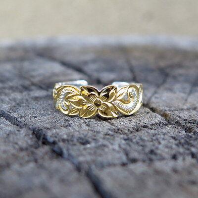 Jewelry & Watches Clever Hawaïen Argent 925 Défilement Découpées Bague D'orteils 6mm Jaune Or Plaquées Toe Rings