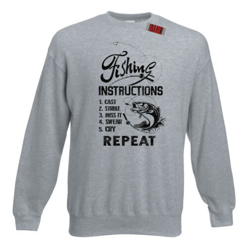 Pêcher des instructions drôle pêcheurs moulé Cordon Blague Premium Sweatshirt s-5xl