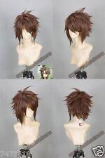 Hakuouki Okita Souji Ver2 Brown Short Straight Cosplay Wig Hair Synthetic Wigs