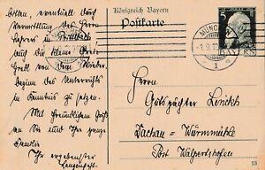 Postkarte-Jahr-1913-verschickt-von-Muenchen-nach-Dachau-gestochen-scharfe-Schrift