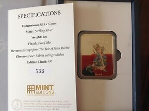 2019-Beatrix-Potter-Peter-Rabbit-Pure-Silver-1oz-Ingot-Only-995-Issued-SEALED