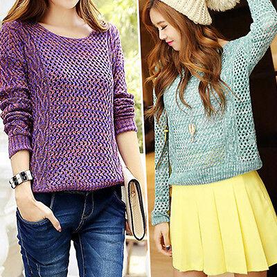 Womens Long Sleeve Batwing Sweater Loose Tops Jumper Pullover Knitwear Outwear