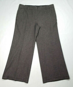 Ann Taylor Size 14 Gray Brown Straight Dress Pants Trouser Slacks Wool Blend