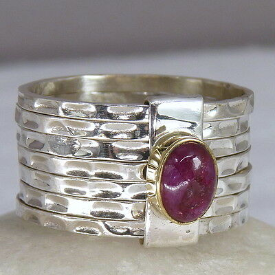 US 6 SILVERSARI Stack of 7 Rings 925 Solid Sterling Silver/Gem Red INDIAN RUBY