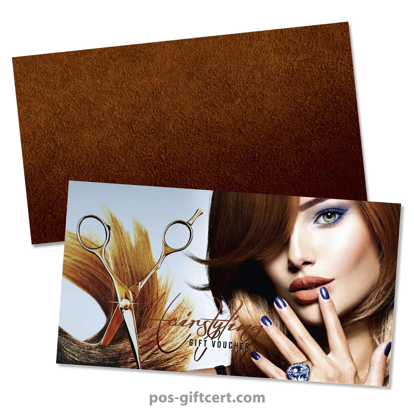 Gift vouchers  envelopes for hair salons, hairdressers K1298GB | Günstige Preise  | Schön geformt