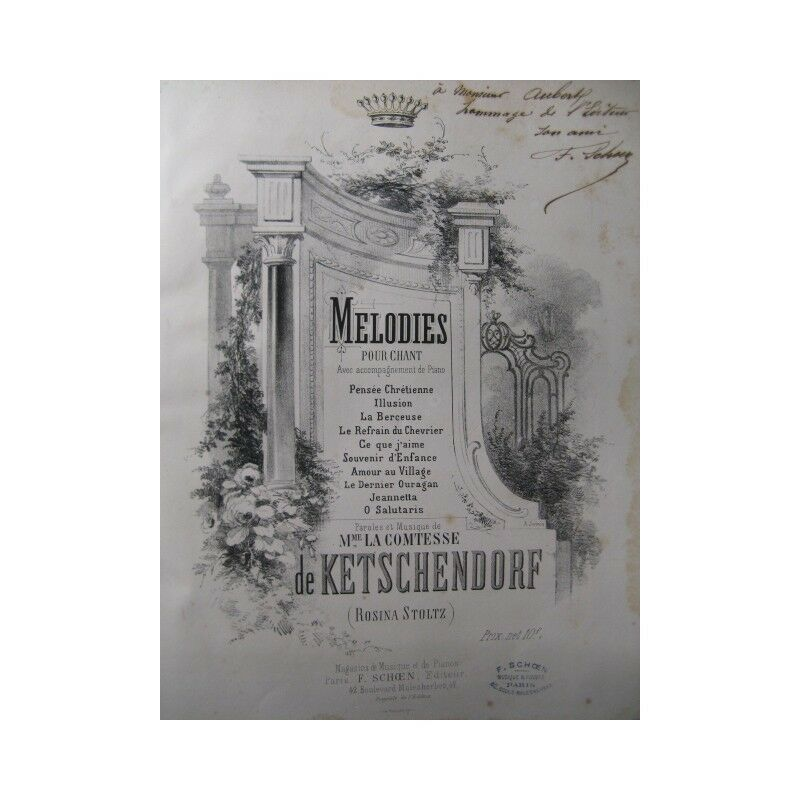 KETSCHENDORF Comtesse Melodies Chant Piano 19 Partitur sheet music score