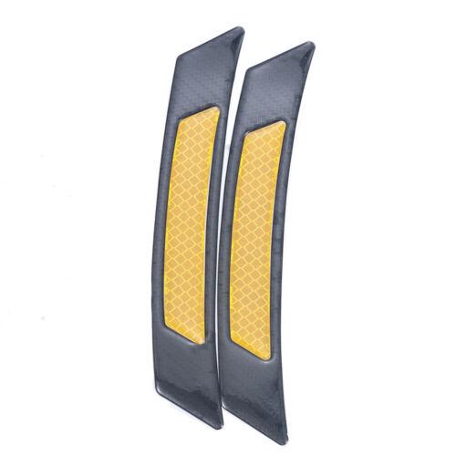 2pcs Carbon Fiber Reflective Safety Strips Car Door Sticker Warning Tape Decal