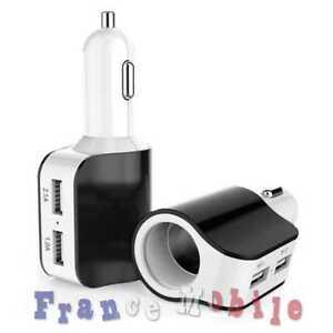 Adaptateur De Voiture Pour Smartphone 2x Usb Charger Allume Cigare Femelle Blanc