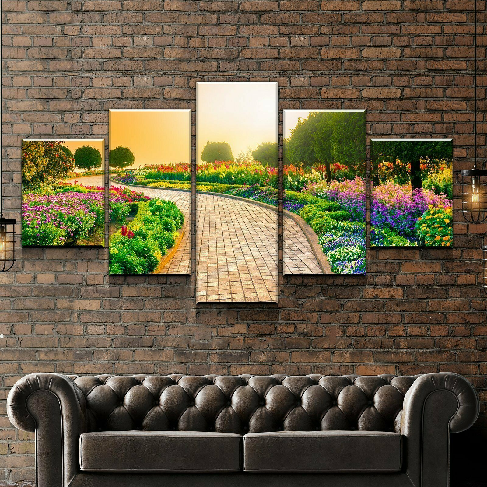 Garden Walkway Tree Flower 5 panel canvas Wall Art Home Decor Poster Print