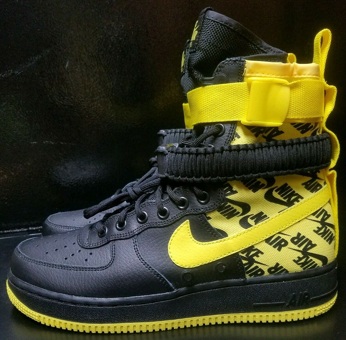 Nike Men's SF AIR FORCE 1 Black Dynamic Yellow New shoes Size 9  AR1955-001