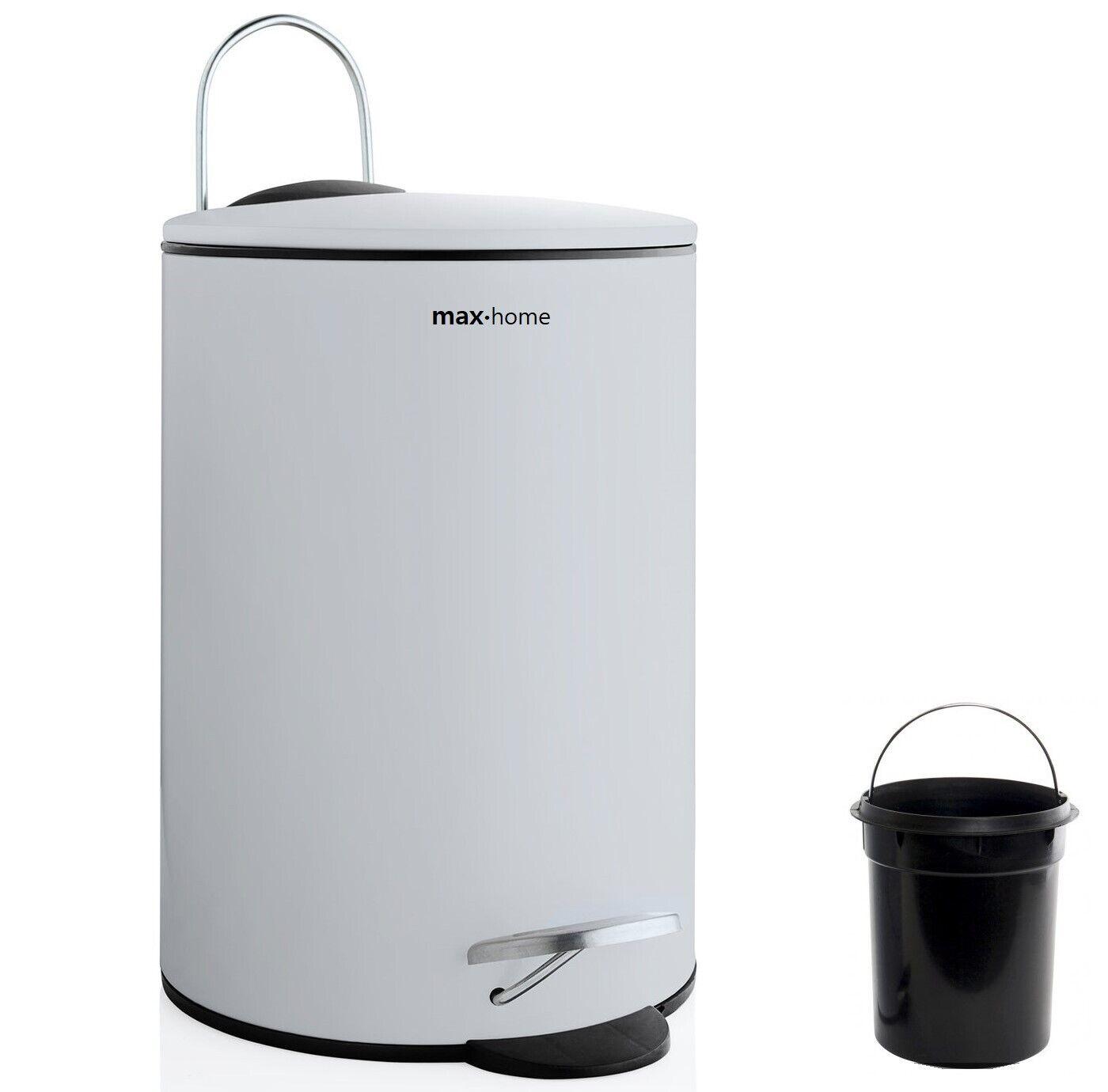 Cubo Papelera de Basura 3 litros metal blanco Reciclaje baño cocina oficina
