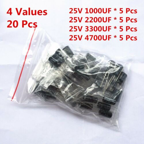 20Pcs 25V 1000UF 2200UF 3300UF 4700UF Electrolytic Capacitor Assorted Kit