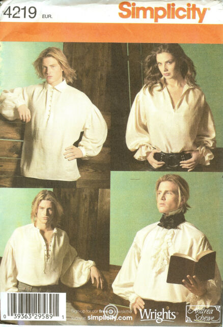 Simplicity Sewing Pattern 4219 Mens Misses Historical Shirt Costume ...