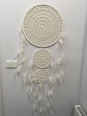HUGE IVORY WHITE CROCHET DREAM CATCHER 42 CM MAIN WEB BOHO 150 CM TOTAL LENGTH