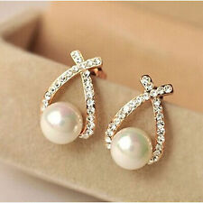 BRIDAL PEARL Gold Diamanté/Crystal/Cubic Zirconia Pave Drop Earrings -UK SELLER