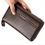 Men-039-s-Leather-Business-Clutch-High-Capacity-Wallet-Double-Zipper-Long-Purse-New thumbnail 17