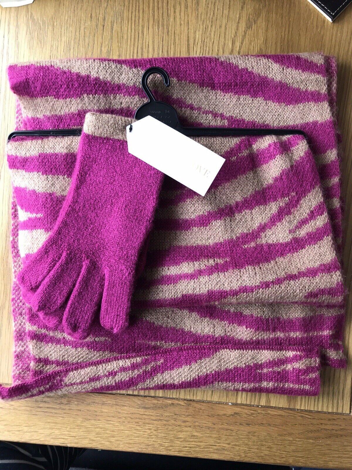 M&S Ladies Scarf & Gloves Set - Pink And Cream