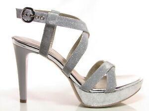 Dettagli su Nero Giardini P908490DE sandali donna eleganti tacco alto 11 cm tessuto argento