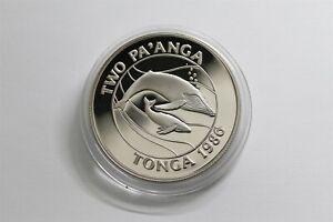 1986 Tonga 1 PA'ANGA KM# 128 copper-Nickel whales Anniversary of WWF #0420