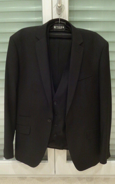 Vito Herren Anzug mit Weste Dreiteiler schwarz Größe 52