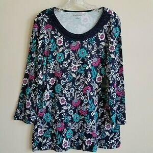 NEW-Kim-Rogers-Floral-Top-Braided-Neckline-Cotton-Blue-Green-Pink-Women-039-s-Large