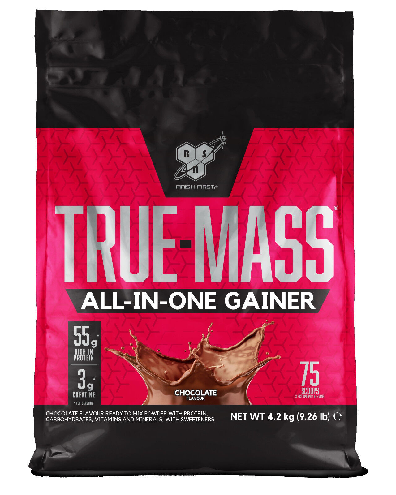 BSN True Mass 4.2kg All in One Whey Protein Powder Heavy Mass Gainer Chocolate