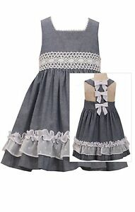 NEW Bonnie Jean Chambray Bow Back Lace Spring  Summer Dressy Dress 2T 3T 4T