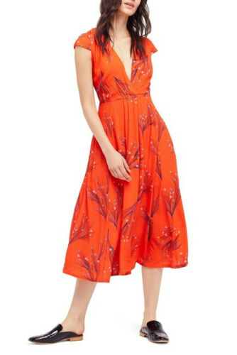 Slim Womens Retro Printed Firecracker Ob528587 Dress Free Orange Taglia People Xs n6qg5wfqY