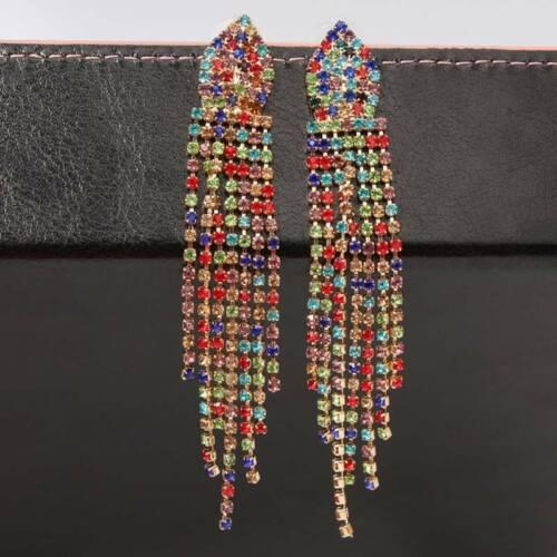 Ladies Rhinestone Earrings Tassel Trendy Fringe Dangle Stud Charm Gift FI