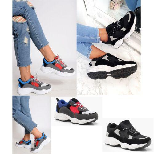 Femme Femmes Baskets Semelle Épaisse Sports Gym Lacets Baskets Chaussures Taille