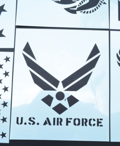 9 PACK Mylar American Patriot Stencil Set Marines ArmyNavy Flags US Map 50 Stars