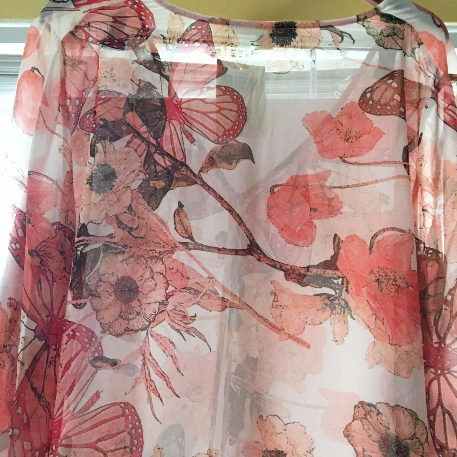 NWT  BOSTON PROPER Floral Butterfly Kimono  Pink Multi  Large