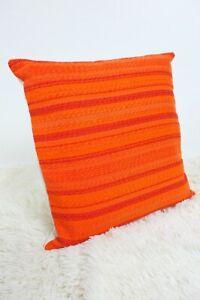 Original-Retro-Fabric-Cushion-Cover-60s-70s-16x16-034-Geometric-Orange