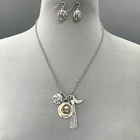 Bohemian Antique Silver Sun Moon Stars Tassel Charm Necklace With Earrings