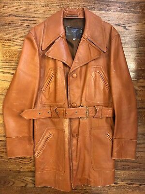 68dcb0f7c Vintage Men's Brown Leather Jacket 70s Trench Belted 44 Styled By Martini |  eBay