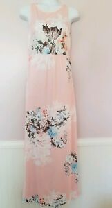 Women-039-s-Medium-Pink-Sleeveless-Maxi-Dress-with-Floral-Print-and-Pockets