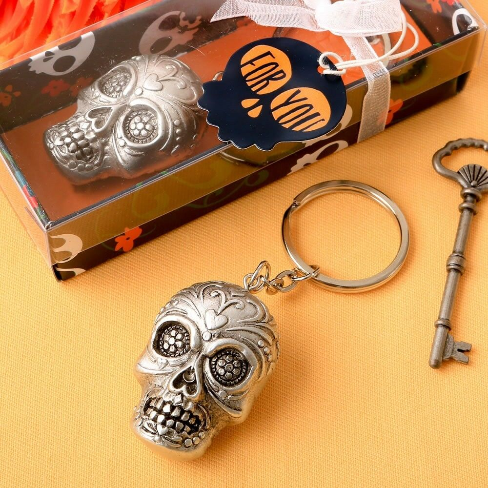 50 Sugar Skull Day Of The Dead Keychain Wedding Bridal Shower Party Favors