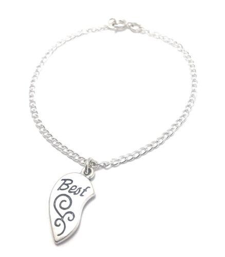 Best Friends Heart Charm Anklet Sterling Silver Chain Link Women/'s Jewelry BBF