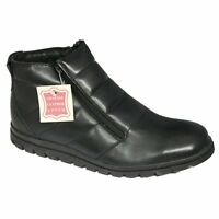 Roamers Genuine Leather Upper Mens Shoes Twin Zip Fur Ankle Boots Black Size 7