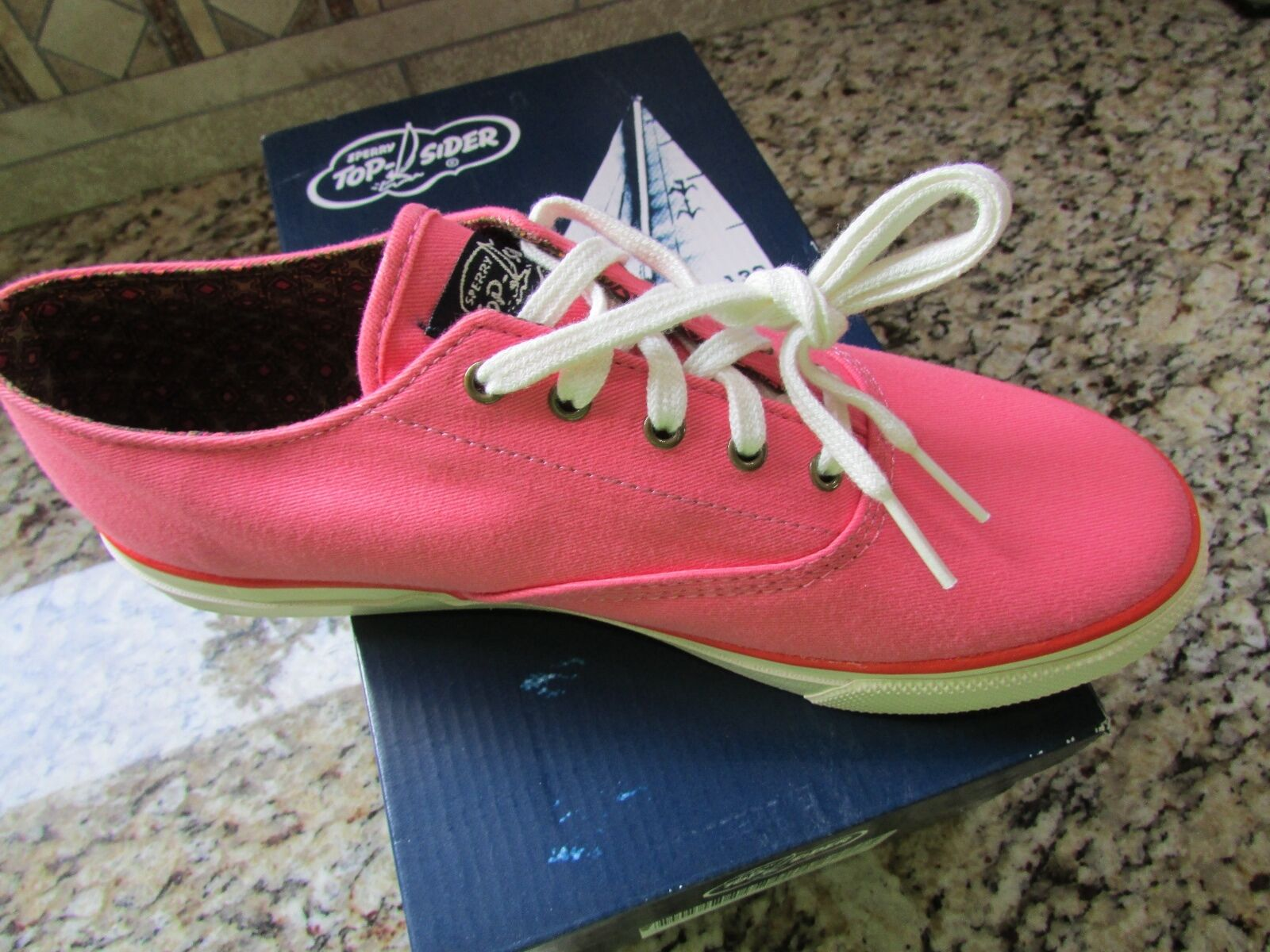 NEW SPERRY TOP-SIDER CVO PEACH Scarpe Donna 9.5 CANVAS SNEAKERS FREE SHIP