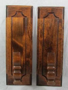 Vintage-Solid-Dark-Brown-Wood-Set-of-2-Candle-Holder-Wall-Sconces-Hand-Carved