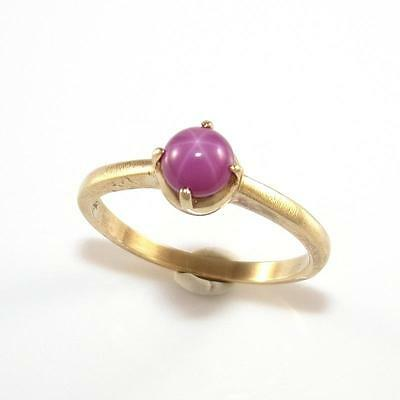 10K Yellow Gold Vintage Star Pink Sapphire Band  Ring Size 6.5 QZ